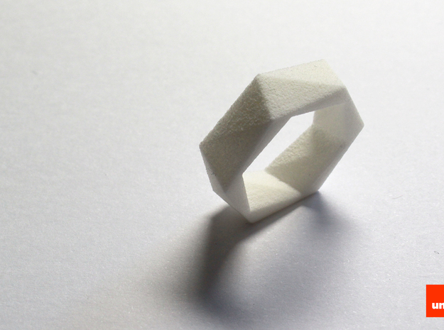 Twist-ring (medium) 3d printed In White Strong & Flexible