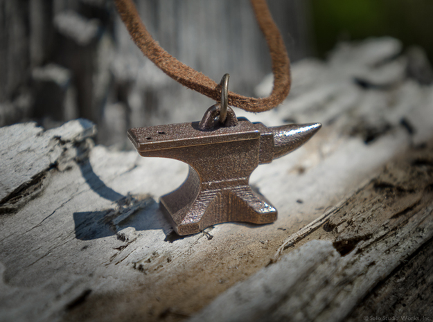Anvil Pendant 3d printed Polished Bronze Steel