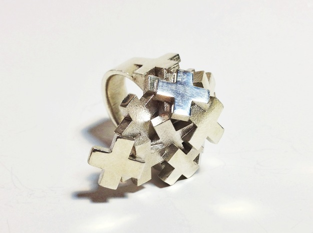 Pile Of Plus Ring 3d printed Sterling Silver