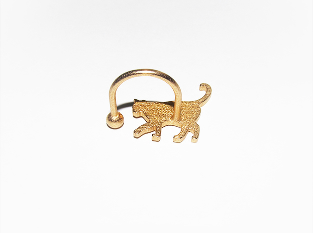 [Ring]Kitty play with a Ball (size 8) 3d printed product with 'Gold Plated Matte'