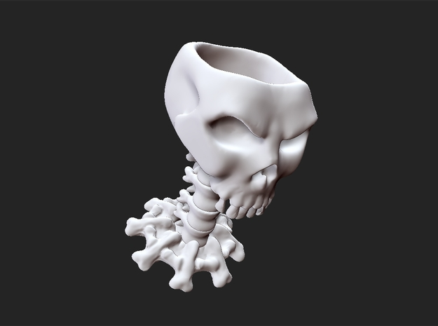 Decorative skull for holding items 3d printed White ceramics