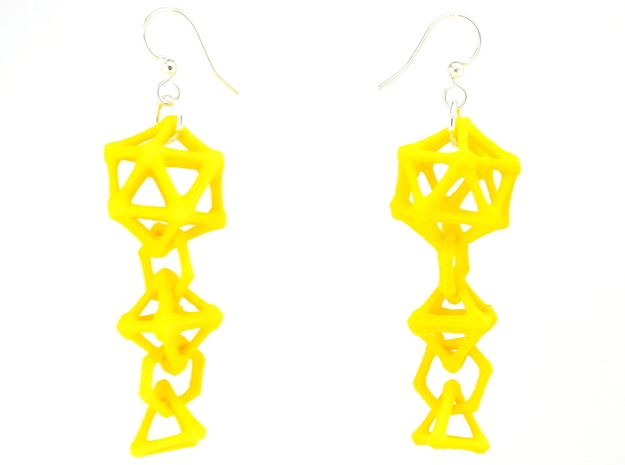 Platonic Progression Earrings - Bone 3d printed Earrings shown printed in yellow Strong and Flexible, finished with silver-plated fishhook earwires