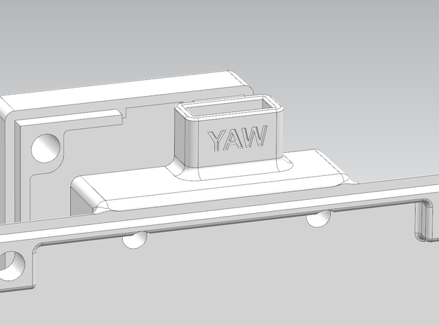 Alexmos Third Axis Controller Housing 3d printed Yaw text added