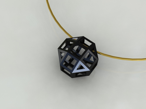 Geometric Pendant 3d printed Black