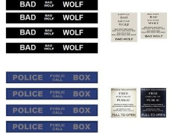 """TT Type 40 Mark 1 TARDIS 1/87 Scale 3d printed This set is blue, but also has the """"BAD WOLF"""" alternate set. Copy and print off on laser printer."""