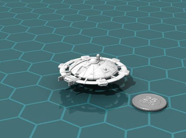 Martian Tharsis class Command Carrier 3d printed Render of the model, with a virtual quarter for scale.