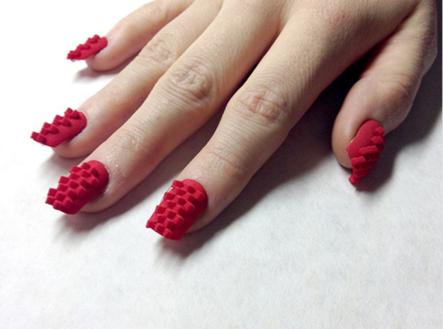Cube Nails (Size 0) 3d printed Red Strong and Flexible Polished