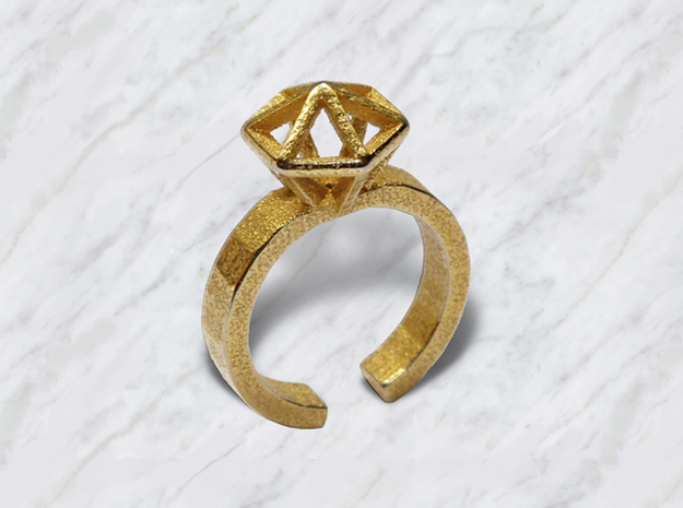 L Gold Stereodiamond Ring 188 (59) 3d printed Gold Stereodiamond 2