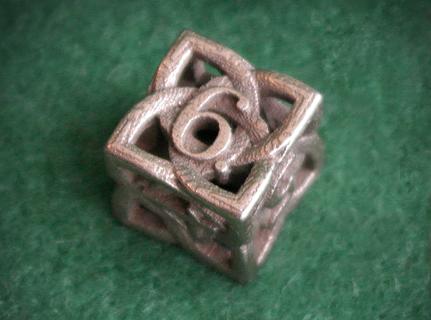 Celtic D6 3d printed Printed in Stainless Steel
