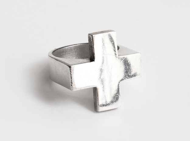 Plus Ring 3d printed Sterling Silver