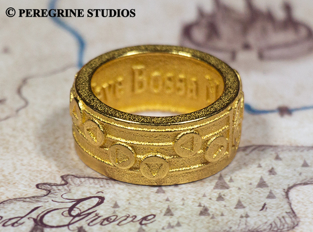Ring - New Wave Bossa Nova (Size 13) 3d printed Gold Plated Glossy