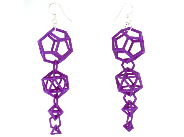 Platonic Progression Earrings - Clean 3d printed Earrings printed in Purple Strong and Flexible, with earwires added