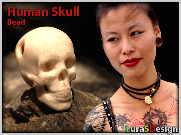 Human Skull Pendant - Skull Bead 3d printed Photo shows previous version