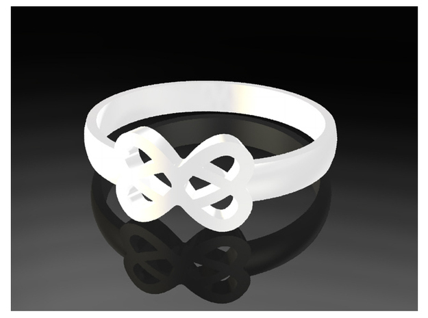 Infinity Ring 55mm 3d printed White Plastic