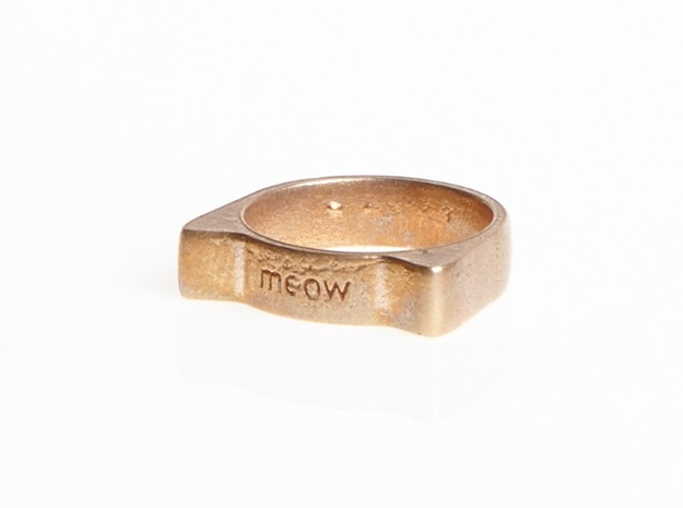 Meow ring 17mm 3d printed Customized model (photo, Raw Bronze)