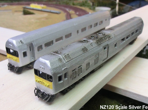 NZ120 Silver fern Railcar (1/3) 3d printed Fitted with Couplers, airhoses