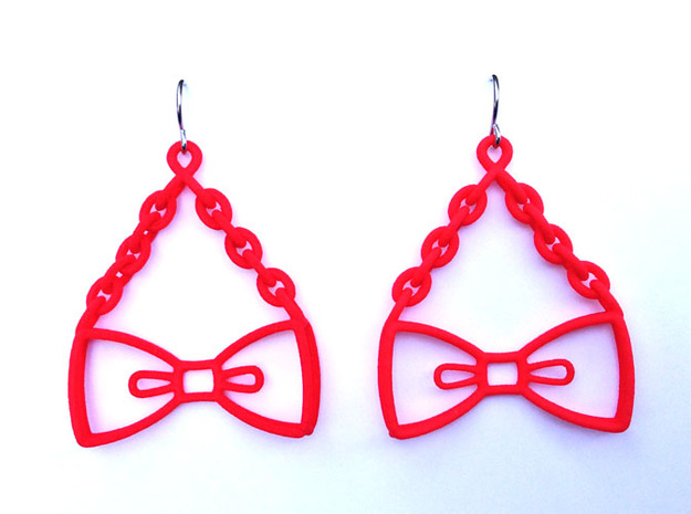 Bow Tie Earrings - in nylon 3d printed