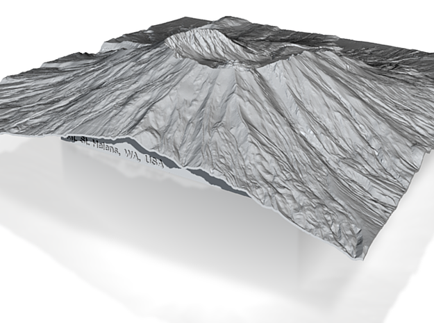 12'' Mt. St. Helens Terrain Model, Washington, USA 3d printed