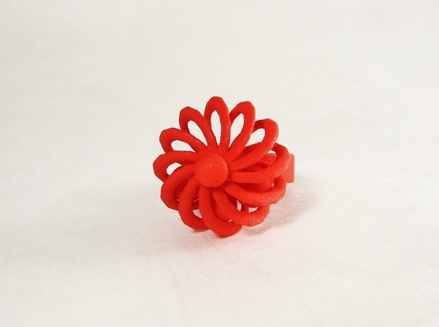 Turbine Fidget Ring 3d printed Red.