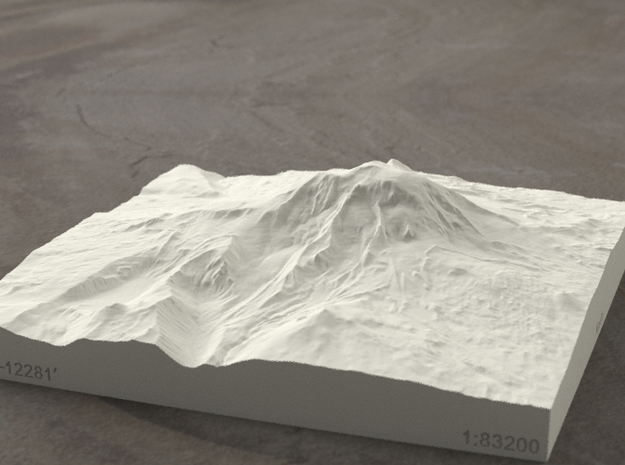 6'' Mt. Adams, Washington, USA, Sandstone 3d printed Radiance rendering of model, viewed from the East.