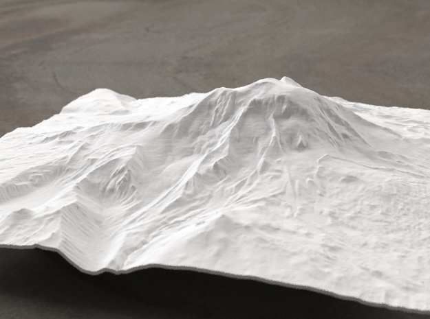 8'' Mt. Adams, Washington, USA, WSF 3d printed Radiance rendering of model, viewed from the East.