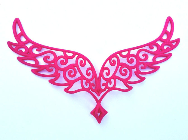 Angel Wings Pendant - in nylon 3d printed