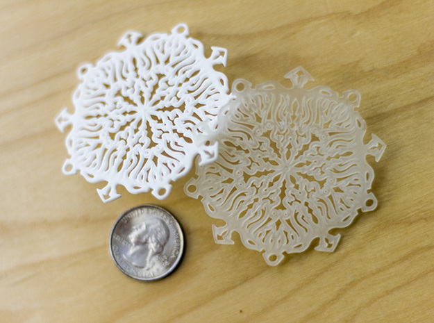 Snow Flake Earrings 3d printed