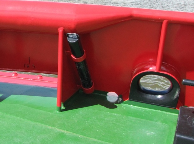 Ship Panama Chocks Type AC Deck Mounting 19x16x9mm 3d printed Chock on Waterstroom tug in Delfzijl 2009.