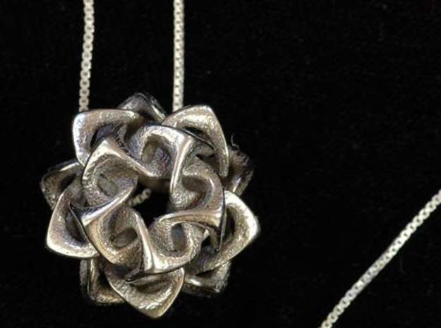 Icosahedron I, pendant 3d printed pendant in polished steel