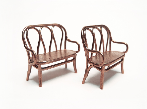 Pair of 1:48 Bentwood Settees 3d printed Printed in Raw Bronze