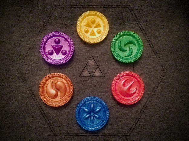 Sage Medallions 3d printed The Sages have trusted you with their 6 elemental medallions!