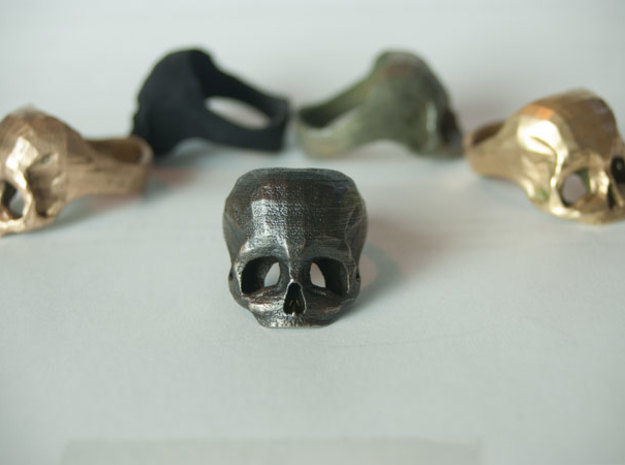 Black Metal Skull Ring by Bits to Atoms 3d printed Black Metal Skull Ring by Bits to Atoms