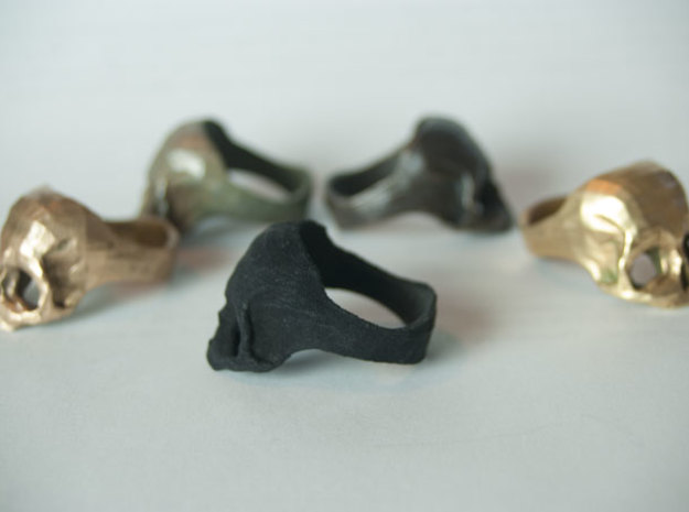 Black Nylon Skull Ring by Bits to Atoms 3d printed Side View