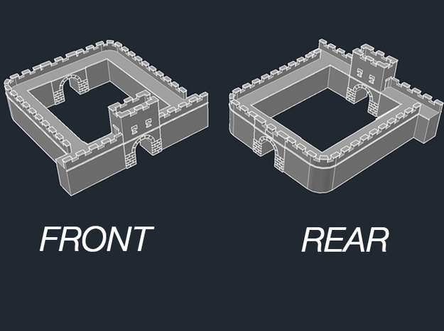 "Roman Wall Milecastle 3d printed Wall Milecastle ""Long Axis"" Basic Model designed for positioning fortlet alongside wall sections"