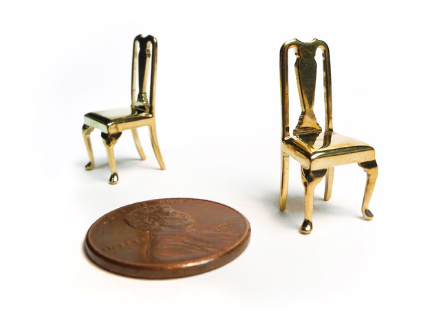 Pair of 1:48 Queen Anne Chairs 3d printed Printed in Polished Brass