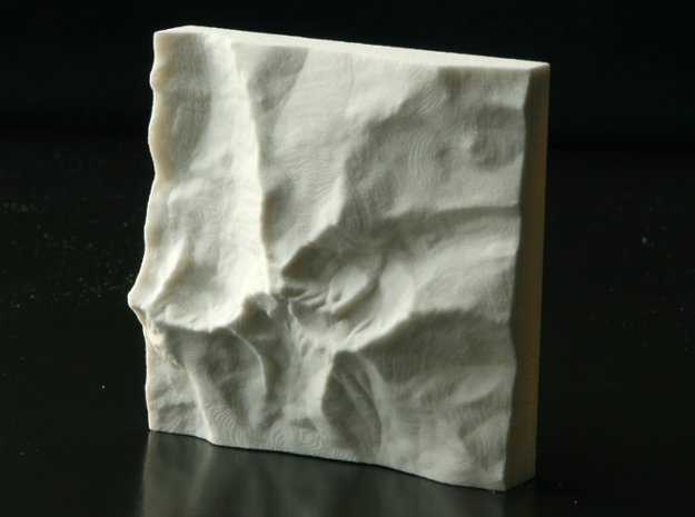 3'' Longs Peak, Colorado, USA, Sandstone 3d printed Photo of actual model, viewed from overhead, North is up