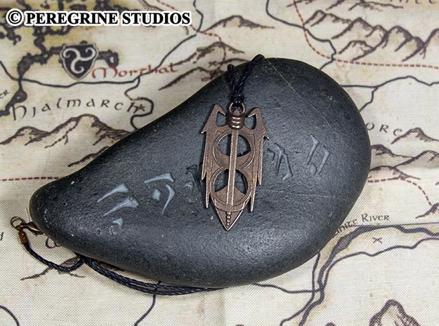 Pendant - Amulet of Akatosh 3d printed Polished Bronze Steel