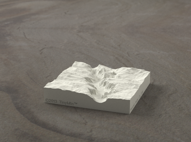 3'' Yosemite Valley, California, USA, Sandstone 3d printed Yosemite valley model rendered in Radiance, viewed from the West, past El Capitan and toward Half Dome.