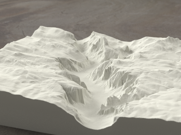 8'' Yosemite Valley, California, USA, Sandstone 3d printed Yosemite valley model rendered in Radiance, viewed from the West, past El Capitan and toward Half Dome.