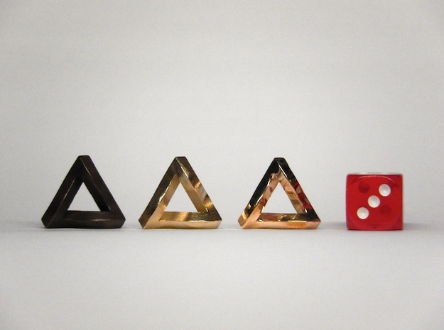 Impossible Triangle, Mini 3d printed Matte Bronze Steel, Raw Brass, and Polished Bronze