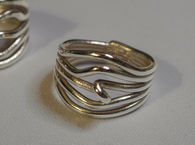 HeliX Kink Ring - 18 mm 3d printed Polished Silver