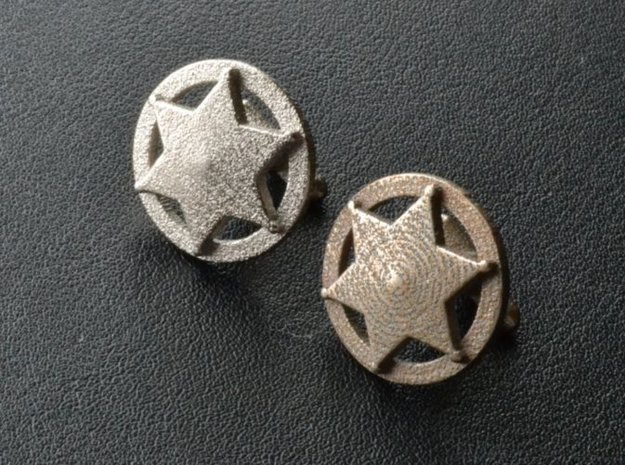 Sheriff's Star Cufflinks (Style 3) 3d printed 3-D printed Sheriff's Star cuff-links (polished nickel finish on left - plain stainless finish on right)