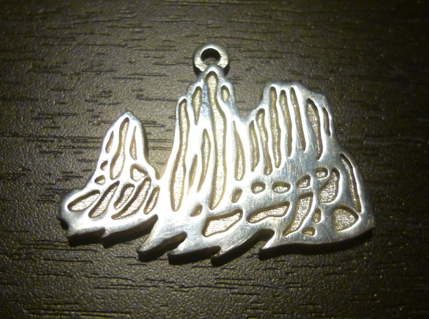 The Mountain: Torres del Paine / Pendant 3d printed Polished silver