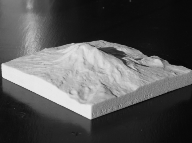 4'' Mt. Adams, Washington, USA, Sandstone 3d printed B/w photo of actual print, looking NE toward Mt Adams.