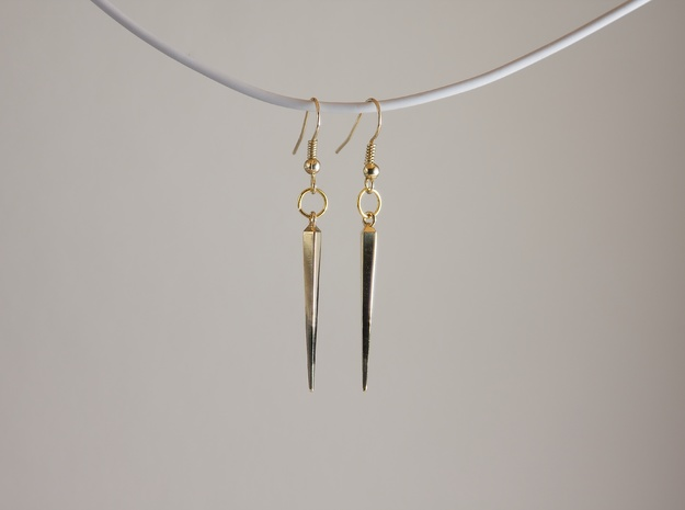 spike earrings 3d printed (gold plated brass)