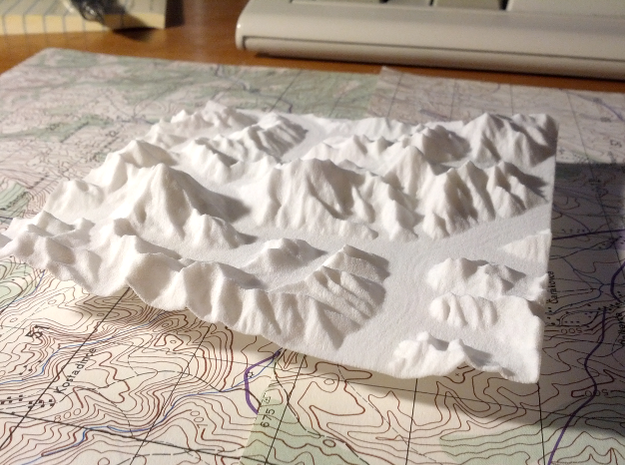 "4''/10cm Baltoro Glacier and K2, WSF 3d printed Photo of 4"" WSF print of K2, Broad Peak, Concordia, and the Gasherbrums; looking East up the Baltoro Glacier."