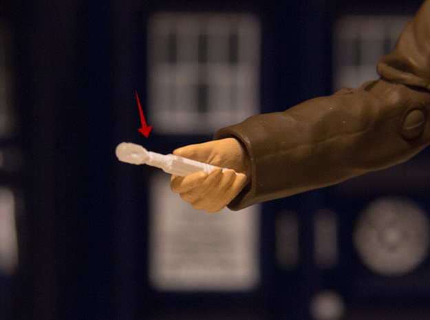 10th Doctor Who Figurine Sonic ScrewDriver 3d printed Actual 3D print using the material, Frosted Detail. Figurine not included.
