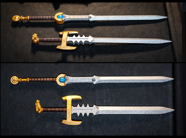 ACC-08-Swords 7inch MOTU v2.3 3d printed Frosted Ultra detail painted with Acrylics