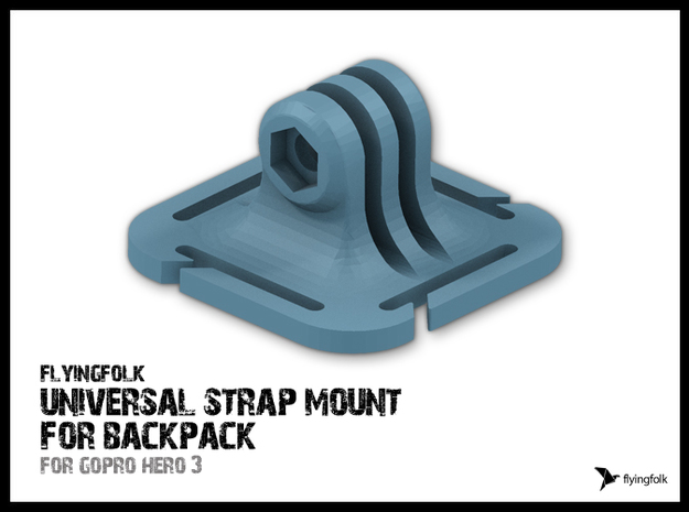 GoPro universal strap mount for backpack 3d printed