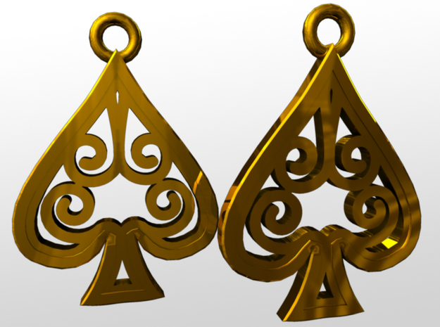 Ace Earrings - Spades 3d printed rendered image